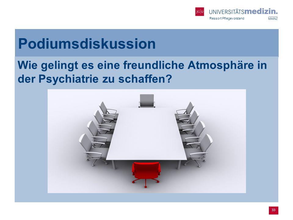 Ressort Pflegevorstand 33 Podiumsdiskussion Wie gelingt es eine freundliche Atmosphäre in der Psychiatrie zu schaffen?