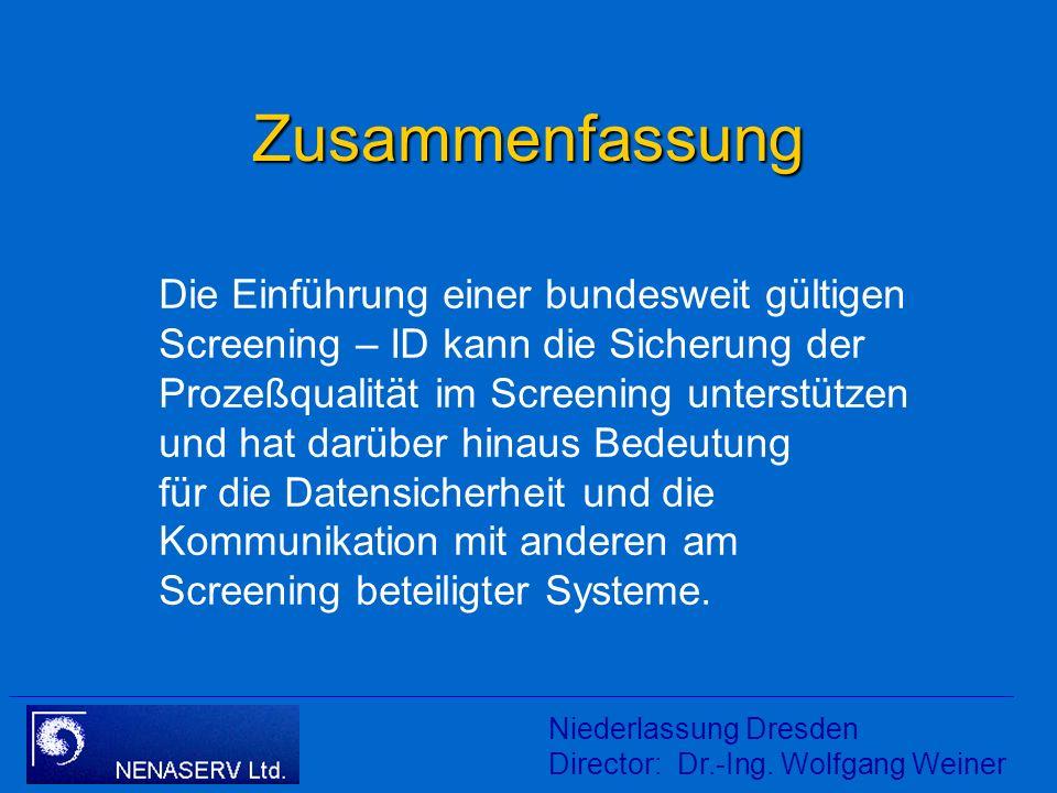 Vorschlag Follow – UP NGS Niederlassung Dresden Director: Dr.-Ing. Wolfgang Weiner (Screening – ID mindestens bei Verdachtsfällen benutzen)