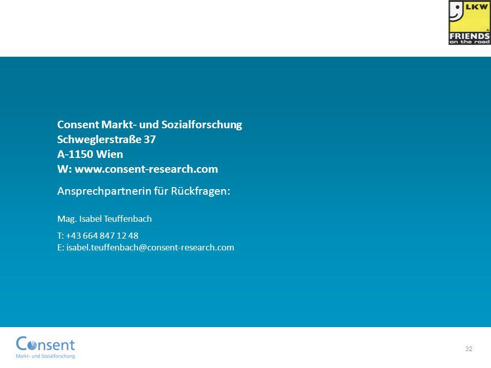 32 Consent Markt- und Sozialforschung Schweglerstraße 37 A-1150 Wien W: www.consent-research.com Ansprechpartnerin für Rückfragen: Mag. Isabel Teuffen