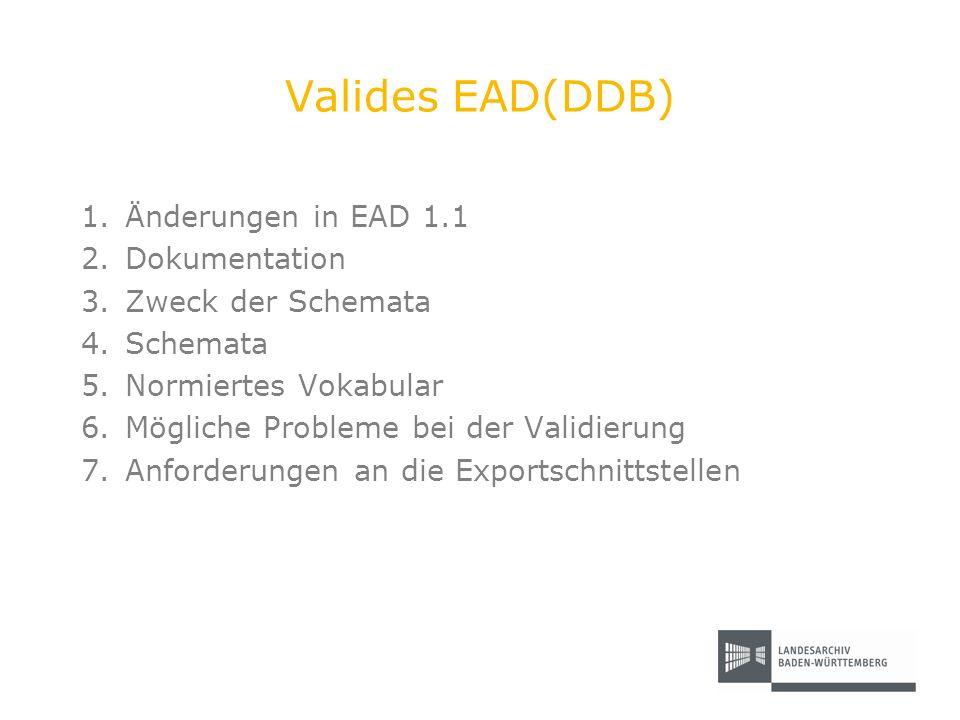 Valides EAD(DDB) 1.Änderungen in EAD 1.1 2.Dokumentation 3.Zweck der Schemata 4.Schemata 5.Normiertes Vokabular 6.Mögliche Probleme bei der Validierun