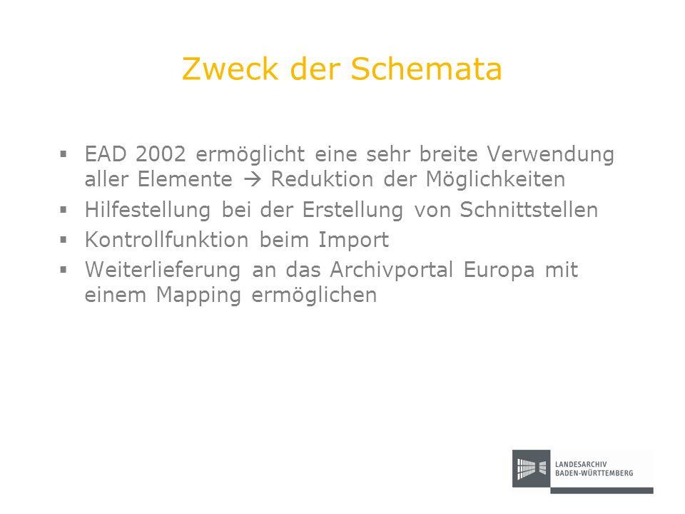 Zweck der Schemata EAD 2002 ermöglicht eine sehr breite Verwendung aller Elemente Reduktion der Möglichkeiten Hilfestellung bei der Erstellung von Sch