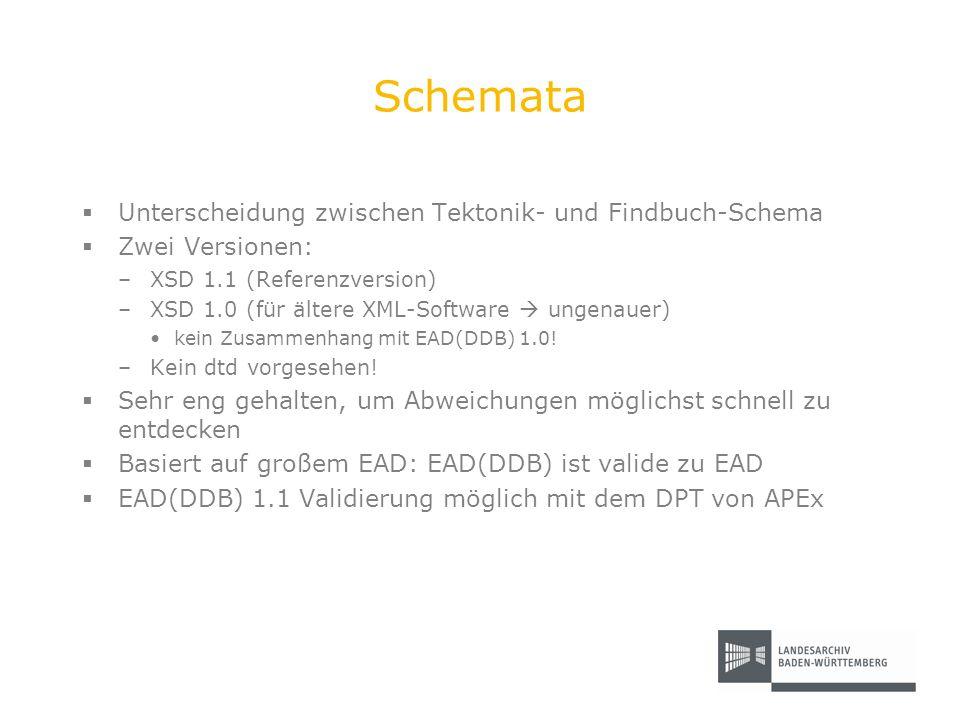Schemata Unterscheidung zwischen Tektonik- und Findbuch-Schema Zwei Versionen: –XSD 1.1 (Referenzversion) –XSD 1.0 (für ältere XML-Software ungenauer)