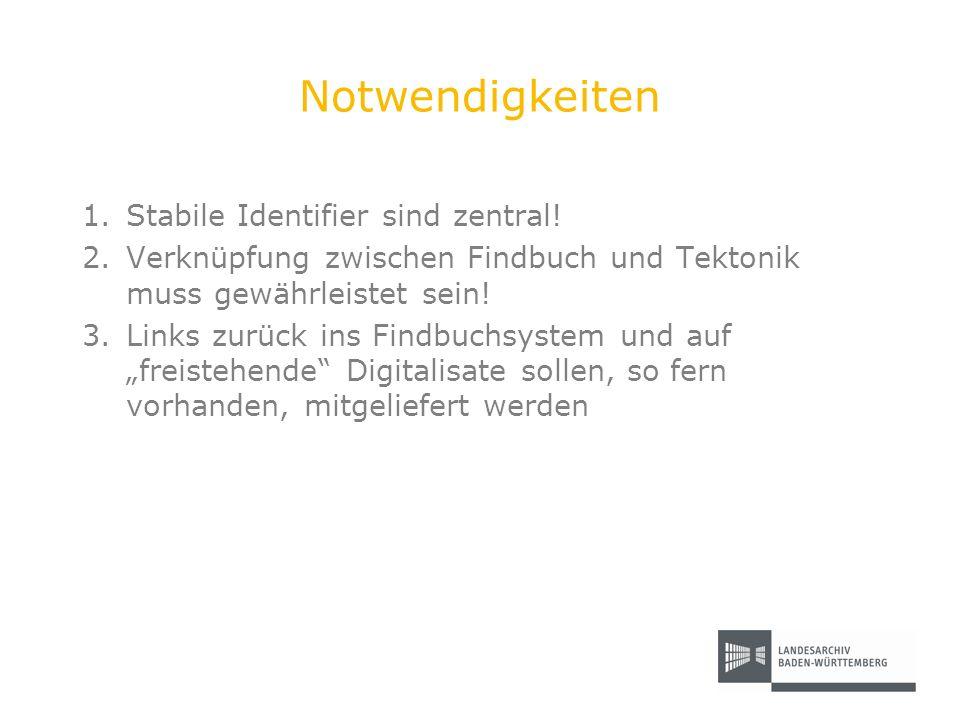 Notwendigkeiten 1.Stabile Identifier sind zentral! 2.Verknüpfung zwischen Findbuch und Tektonik muss gewährleistet sein! 3.Links zurück ins Findbuchsy