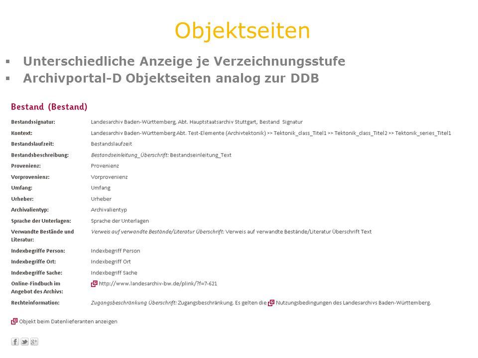 Unterschiedliche Anzeige je Verzeichnungsstufe Archivportal-D Objektseiten analog zur DDB Objektseiten