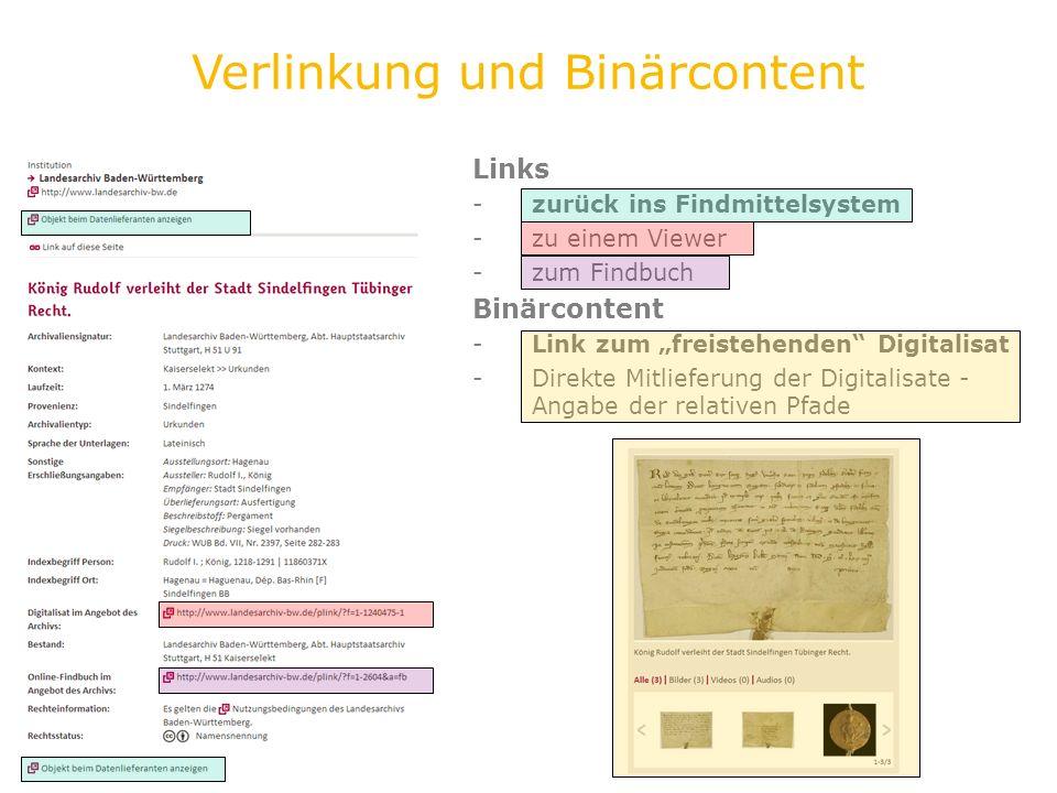 Links -zurück ins Findmittelsystem -zu einem Viewer -zum Findbuch Binärcontent -Link zum freistehenden Digitalisat -Direkte Mitlieferung der Digitalis