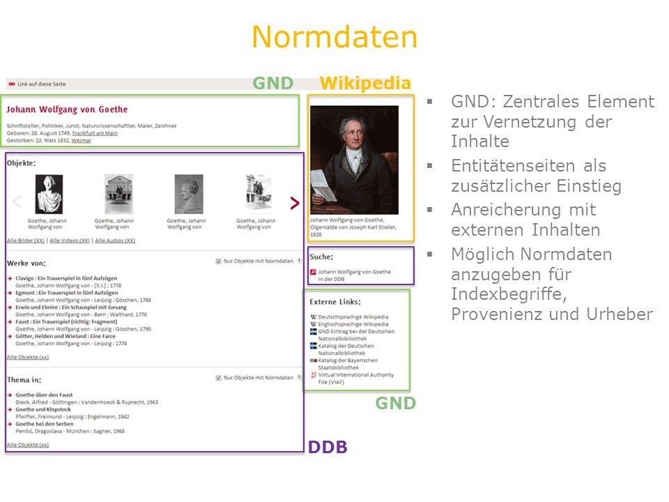 Personen-Seite GND DDB Wikipedia Normdaten GND: Zentrales Element zur Vernetzung der Inhalte Entitätenseiten als zusätzlicher Einstieg Anreicherung mi
