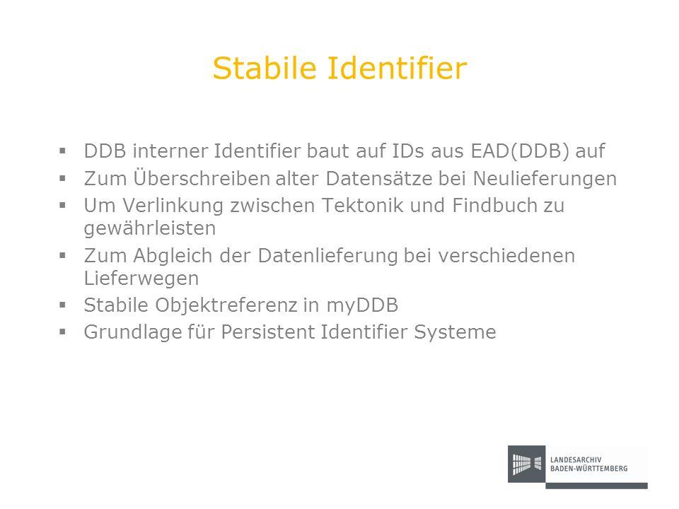 Stabile Identifier DDB interner Identifier baut auf IDs aus EAD(DDB) auf Zum Überschreiben alter Datensätze bei Neulieferungen Um Verlinkung zwischen