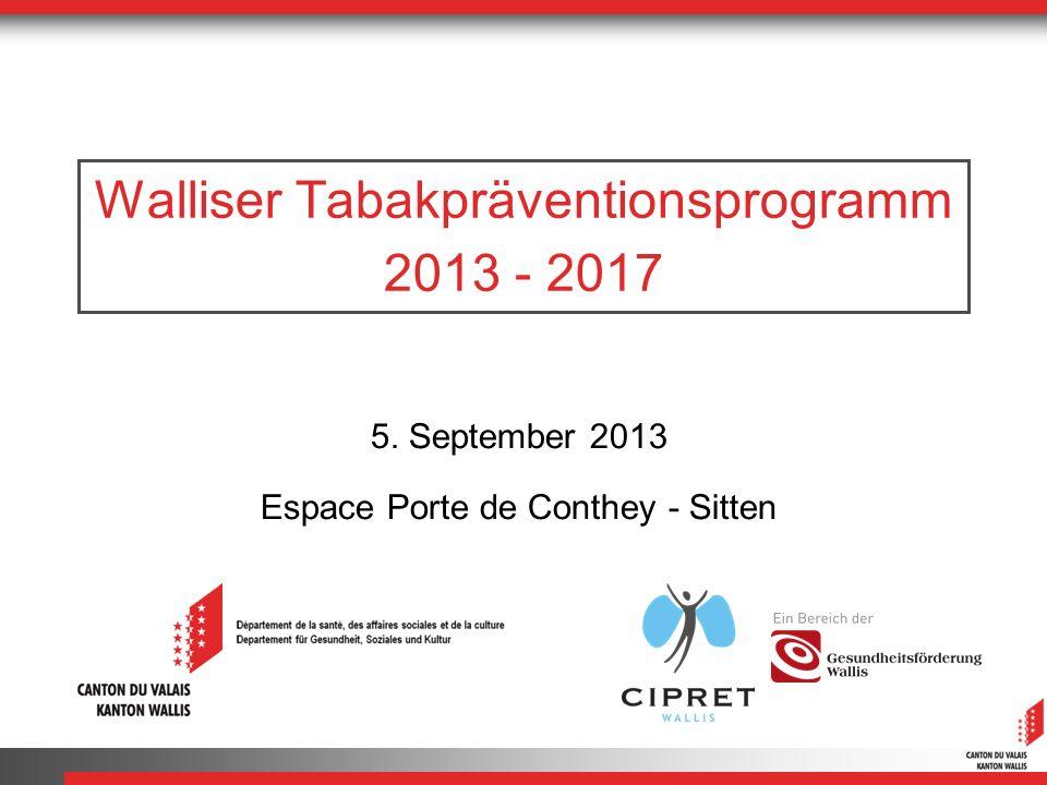 Walliser Tabakpräventionsprogramm 2013 - 2017 5. September 2013 Espace Porte de Conthey - Sitten