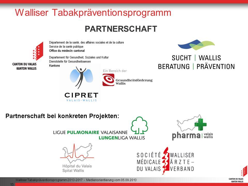 15 Walliser Tabakpräventionsprogramm PARTNERSCHAFT Partnerschaft bei konkreten Projekten: Walliser Tabakpräventionsprogramm 2013-2017 - Medienorientierung vom 05.09.2013