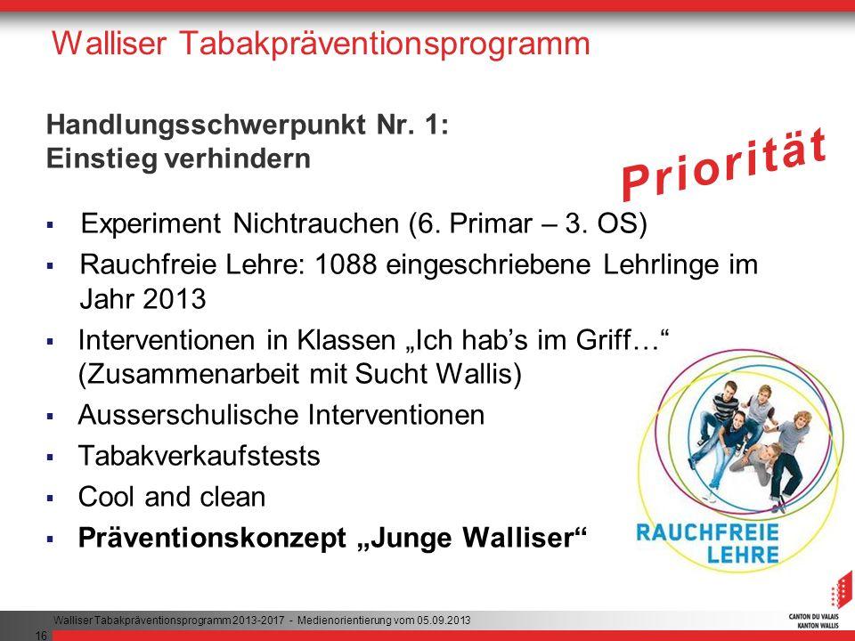 16 Walliser Tabakpräventionsprogramm Handlungsschwerpunkt Nr.