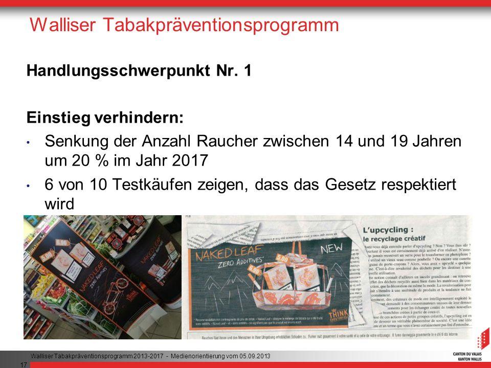 17 Walliser Tabakpräventionsprogramm Handlungsschwerpunkt Nr.
