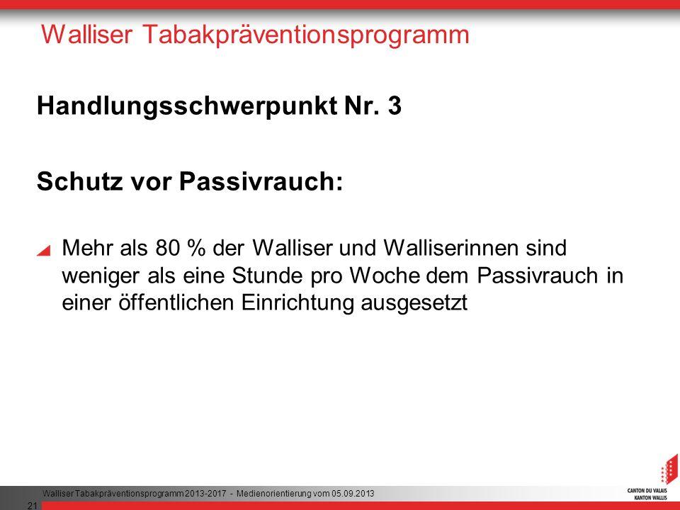 21 Walliser Tabakpräventionsprogramm Handlungsschwerpunkt Nr. 3 Schutz vor Passivrauch: Mehr als 80 % der Walliser und Walliserinnen sind weniger als