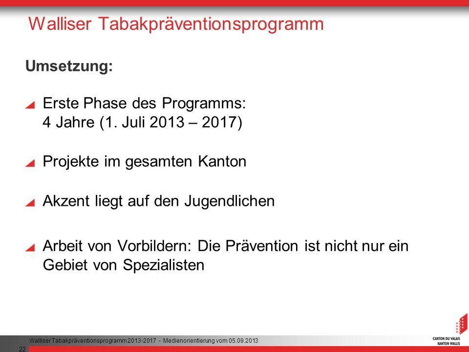 22 Walliser Tabakpräventionsprogramm Umsetzung: Erste Phase des Programms: 4 Jahre (1.