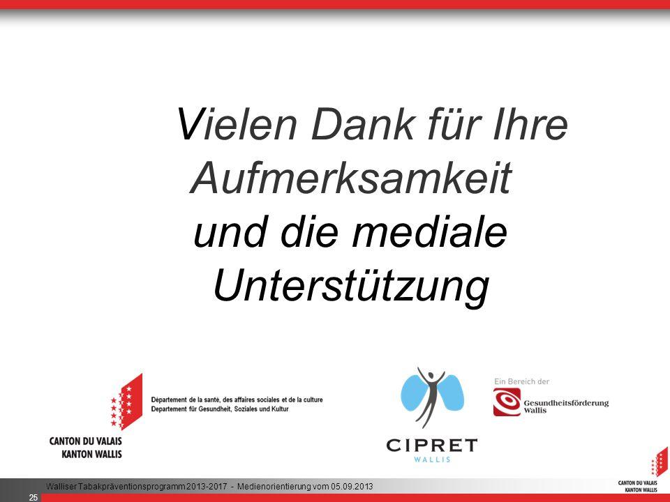 Vielen Dank für Ihre Aufmerksamkeit und die mediale Unterstützung Walliser Tabakpräventionsprogramm 2013-2017 - Medienorientierung vom 05.09.2013 25