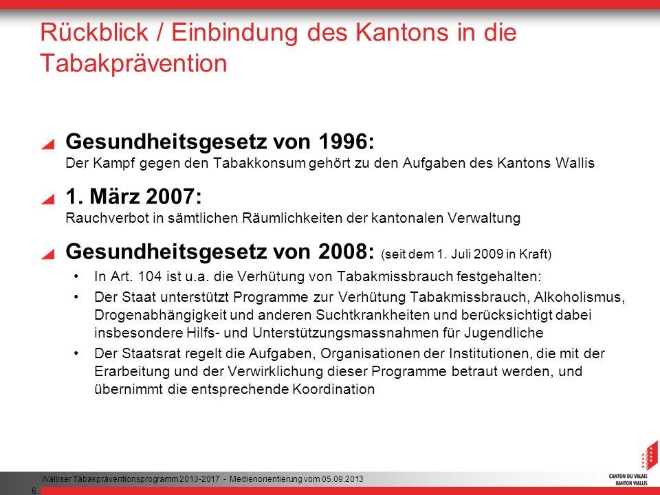 6 Rückblick / Einbindung des Kantons in die Tabakprävention Gesundheitsgesetz von 1996: Der Kampf gegen den Tabakkonsum gehört zu den Aufgaben des Kantons Wallis 1.