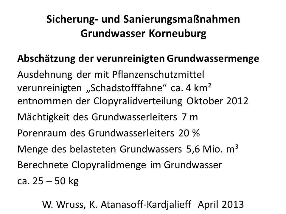 Sicherung- und Sanierungsmaßnahmen Grundwasser Korneuburg Abschätzung der verunreinigten Grundwassermenge Ausdehnung der mit Pflanzenschutzmittel verunreinigten Schadstofffahne ca.