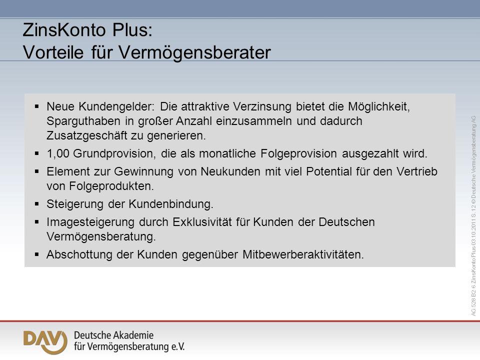 AG 528 B2 6 ZinsKonto Plus 03.10.2011 S. 12 © Deutsche Vermögensberatung AG Neue Kundengelder: Die attraktive Verzinsung bietet die Möglichkeit, Sparg