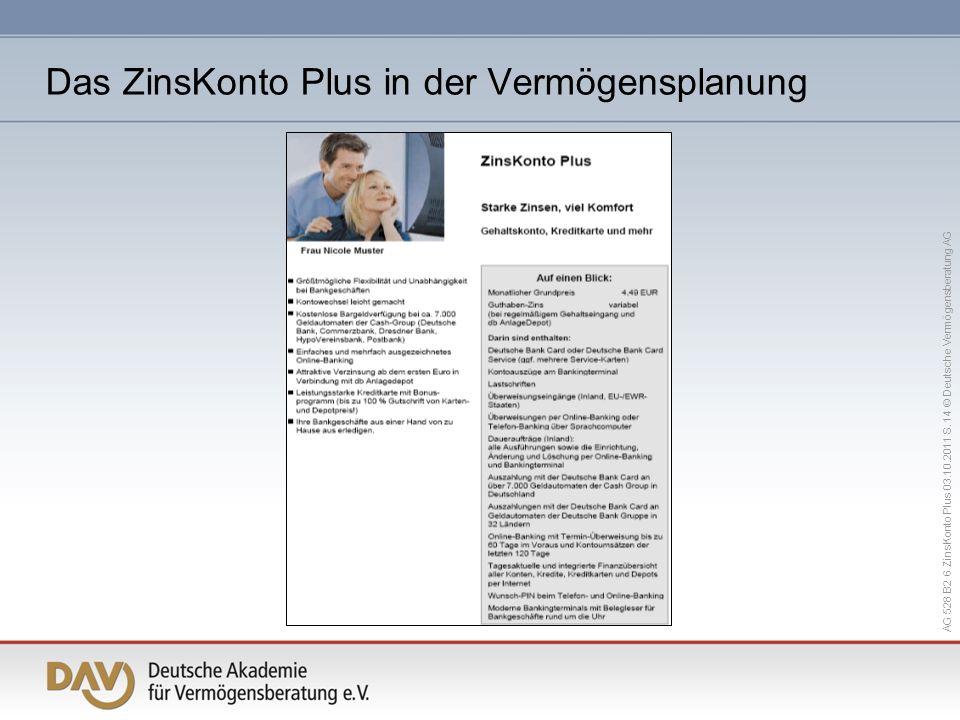 AG 528 B2 6 ZinsKonto Plus 03.10.2011 S. 14 © Deutsche Vermögensberatung AG Das ZinsKonto Plus in der Vermögensplanung