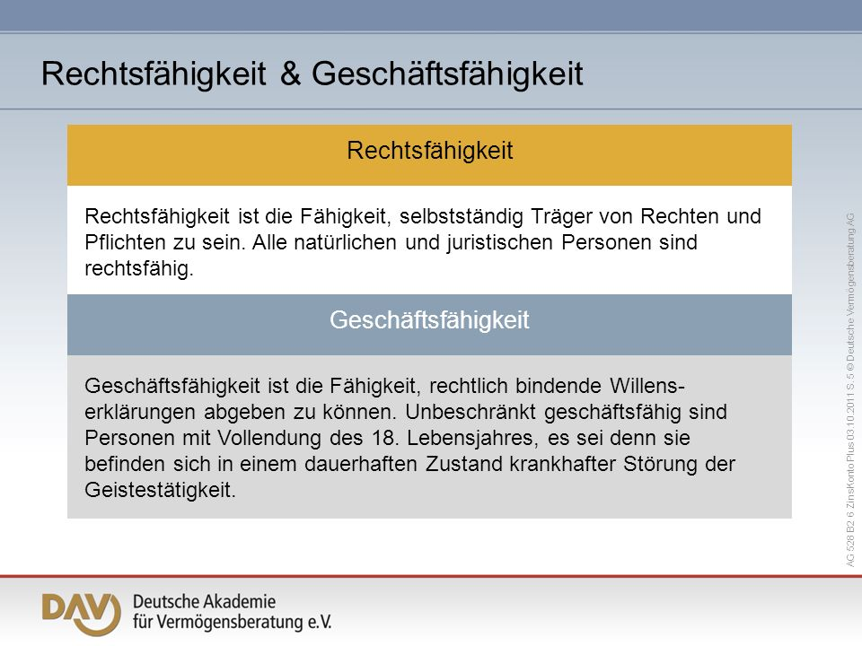 AG 528 B2 6 ZinsKonto Plus 03.10.2011 S. 5 © Deutsche Vermögensberatung AG Geschäftsfähigkeit ist die Fähigkeit, rechtlich bindende Willens- erklärung
