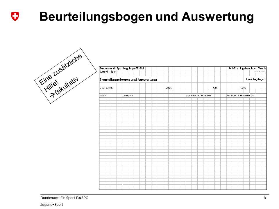 9 Bundesamt für Sport BASPO Jugend+Sport Lektionsvorbereitung Setze dir Ziele.