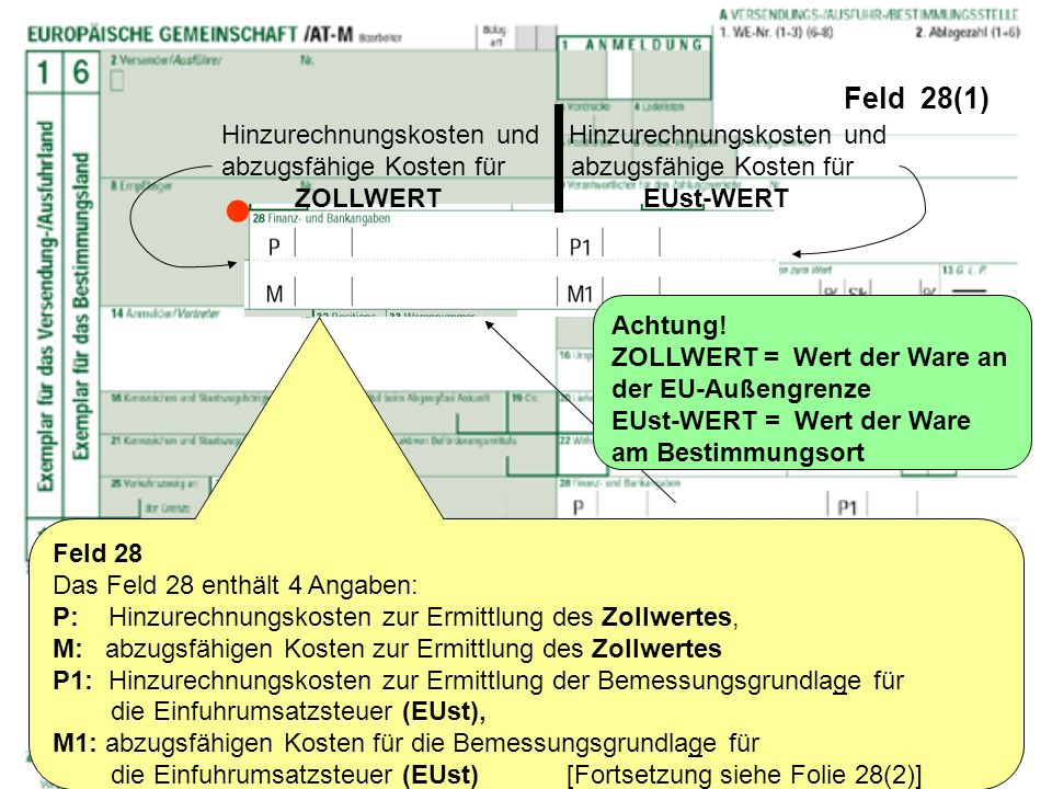 Feld 28(1) Feld 28 Das Feld 28 enthält 4 Angaben: P: Hinzurechnungskosten zur Ermittlung des Zollwertes, M: abzugsfähigen Kosten zur Ermittlung des Zo