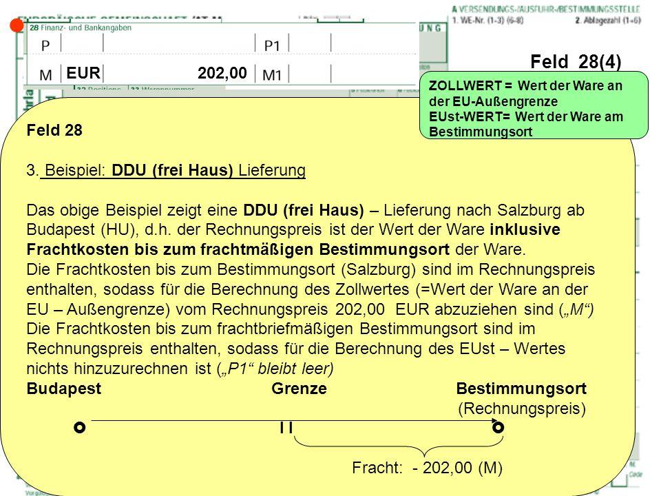 Feld 28(4) Feld 28 3. Beispiel: DDU (frei Haus) Lieferung Das obige Beispiel zeigt eine DDU (frei Haus) – Lieferung nach Salzburg ab Budapest (HU), d.