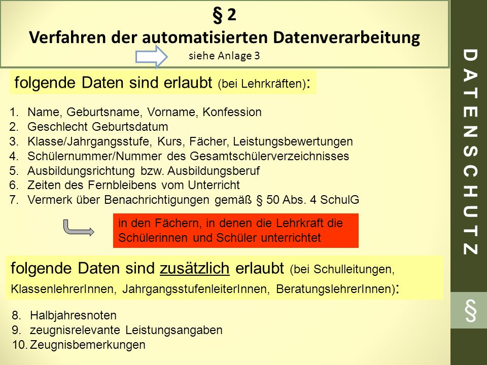 § § 2 Verfahren der automatisierten Datenverarbeitung siehe Anlage 3 folgende Daten sind erlaubt (bei Lehrkräften) : 1.Name, Geburtsname, Vorname, Kon