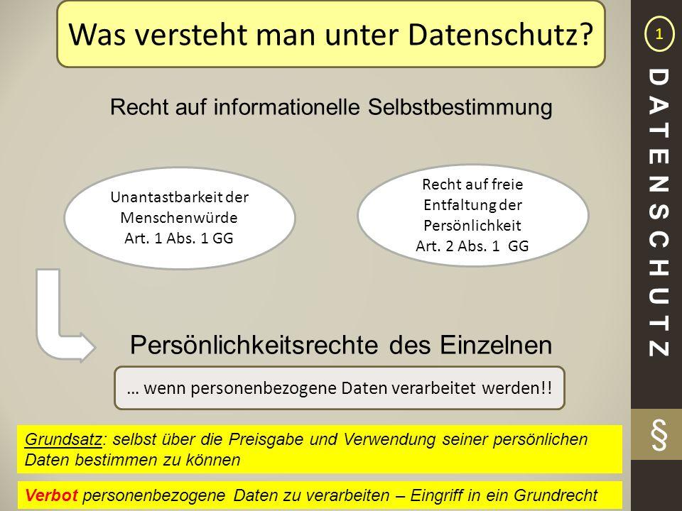 § Recht auf informationelle Selbstbestimmung Unantastbarkeit der Menschenwürde Art. 1 Abs. 1 GG Recht auf freie Entfaltung der Persönlichkeit Art. 2 A
