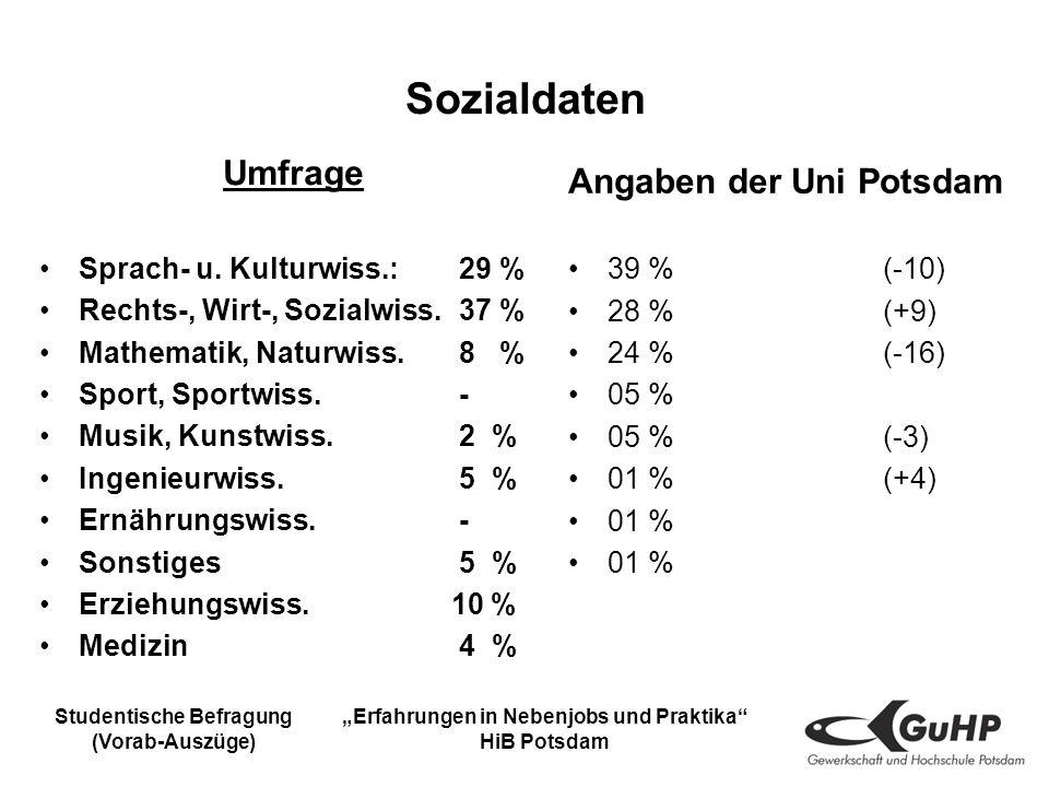 Studentische Befragung (Vorab-Auszüge) Erfahrungen in Nebenjobs und Praktika HiB Potsdam Sozialdaten Umfrage Sprach- u.