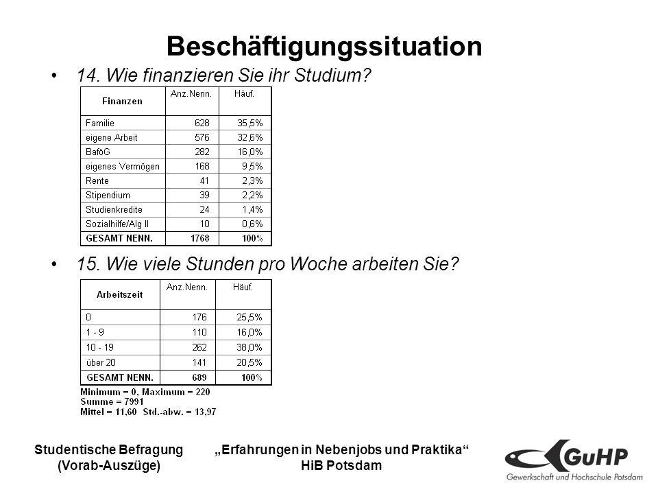 Studentische Befragung (Vorab-Auszüge) Erfahrungen in Nebenjobs und Praktika HiB Potsdam Beschäftigungssituation 14.
