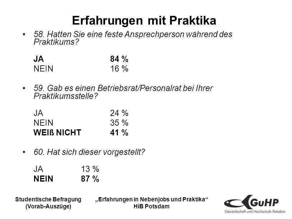 Studentische Befragung (Vorab-Auszüge) Erfahrungen in Nebenjobs und Praktika HiB Potsdam Erfahrungen mit Praktika 58.