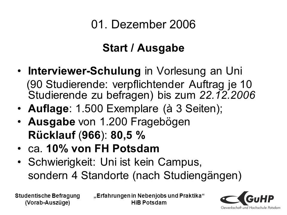Studentische Befragung (Vorab-Auszüge) Erfahrungen in Nebenjobs und Praktika HiB Potsdam 01.