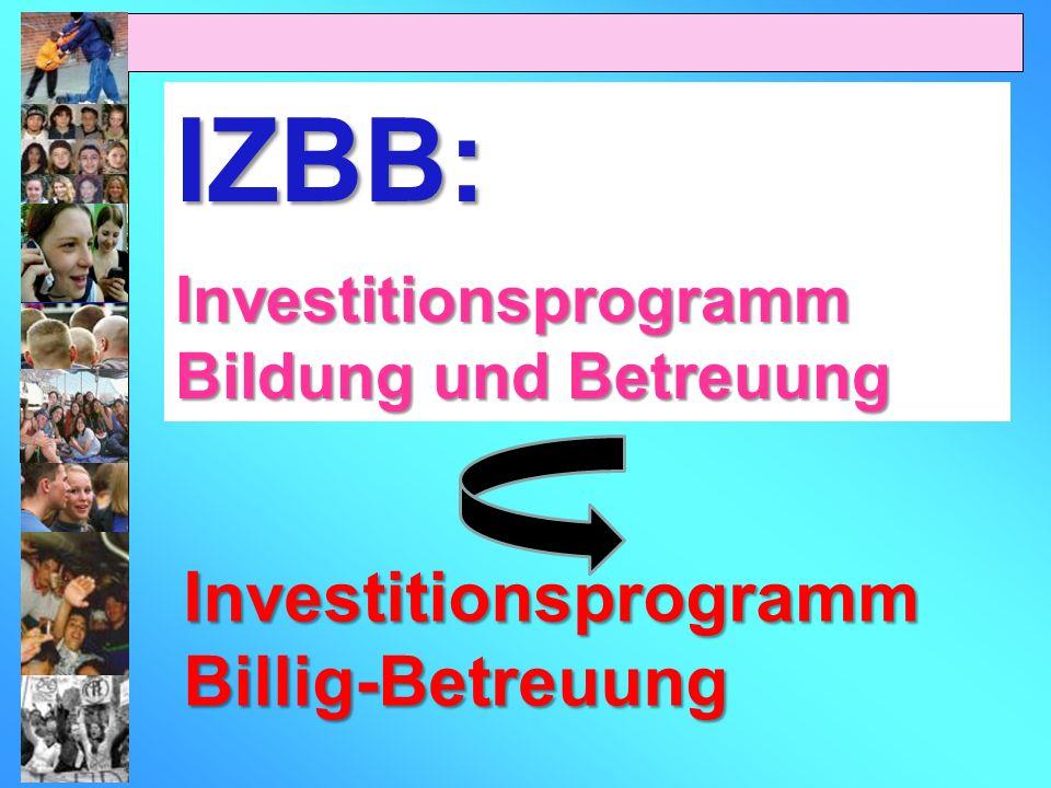 IZBB: Investitionsprogramm Bildung und Betreuung Investitionsprogramm Billig-Betreuung