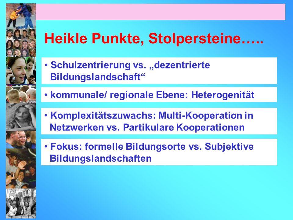 Heikle Punkte, Stolpersteine….. kommunale/ regionale Ebene: Heterogenität Komplexitätszuwachs: Multi-Kooperation in Netzwerken vs. Partikulare Koopera