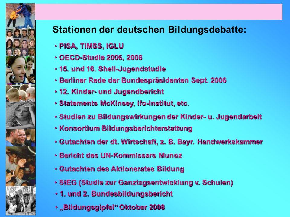 Stationen der deutschen Bildungsdebatte: PISA, TIMSS, IGLU PISA, TIMSS, IGLU OECD-Studie 2006, 2008 OECD-Studie 2006, 2008 15. und 16. Shell-Jugendstu