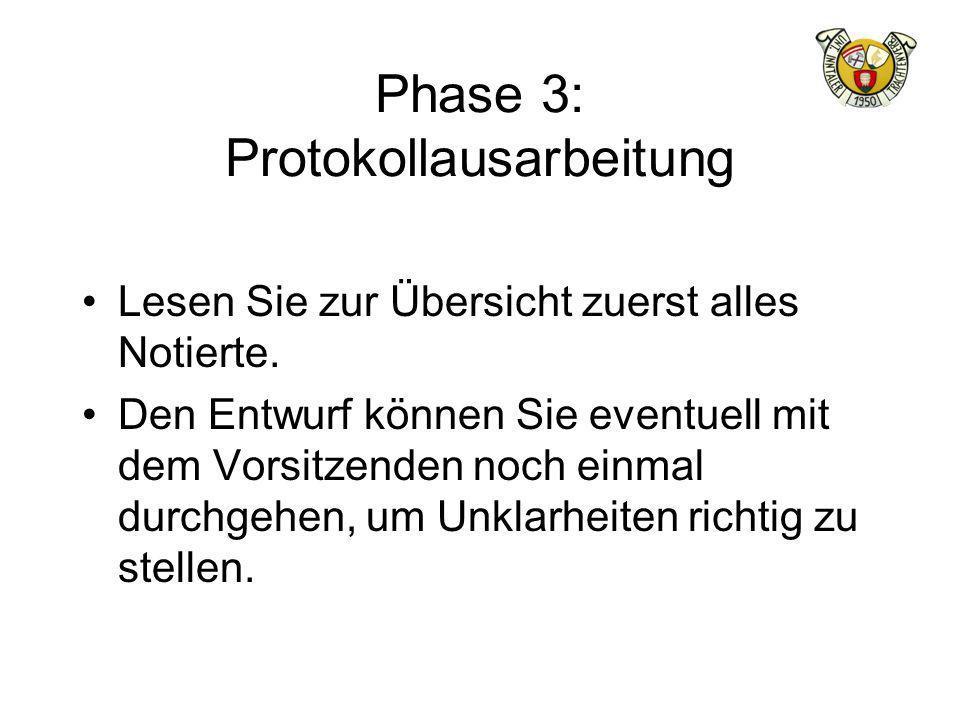 Phase 3: Protokollausarbeitung Lesen Sie zur Übersicht zuerst alles Notierte. Den Entwurf können Sie eventuell mit dem Vorsitzenden noch einmal durchg