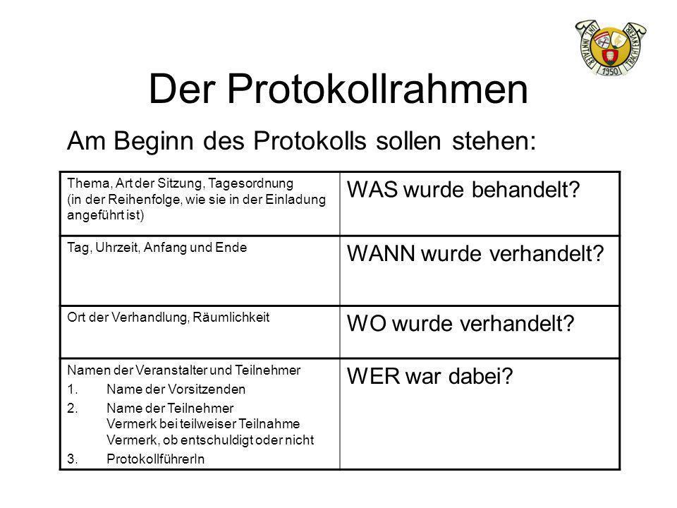 Der Protokollrahmen Am Beginn des Protokolls sollen stehen: Thema, Art der Sitzung, Tagesordnung (in der Reihenfolge, wie sie in der Einladung angefüh