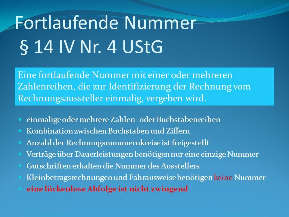 Fortlaufende Nummer § 14 IV Nr.
