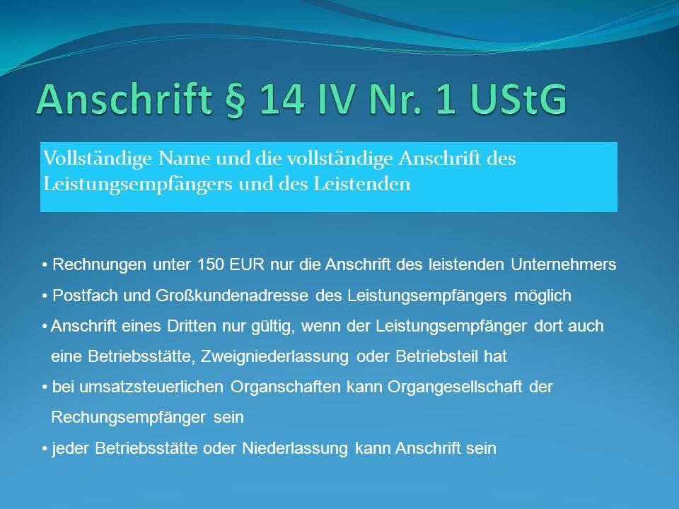 Steuernummer § 14 IV Nr.