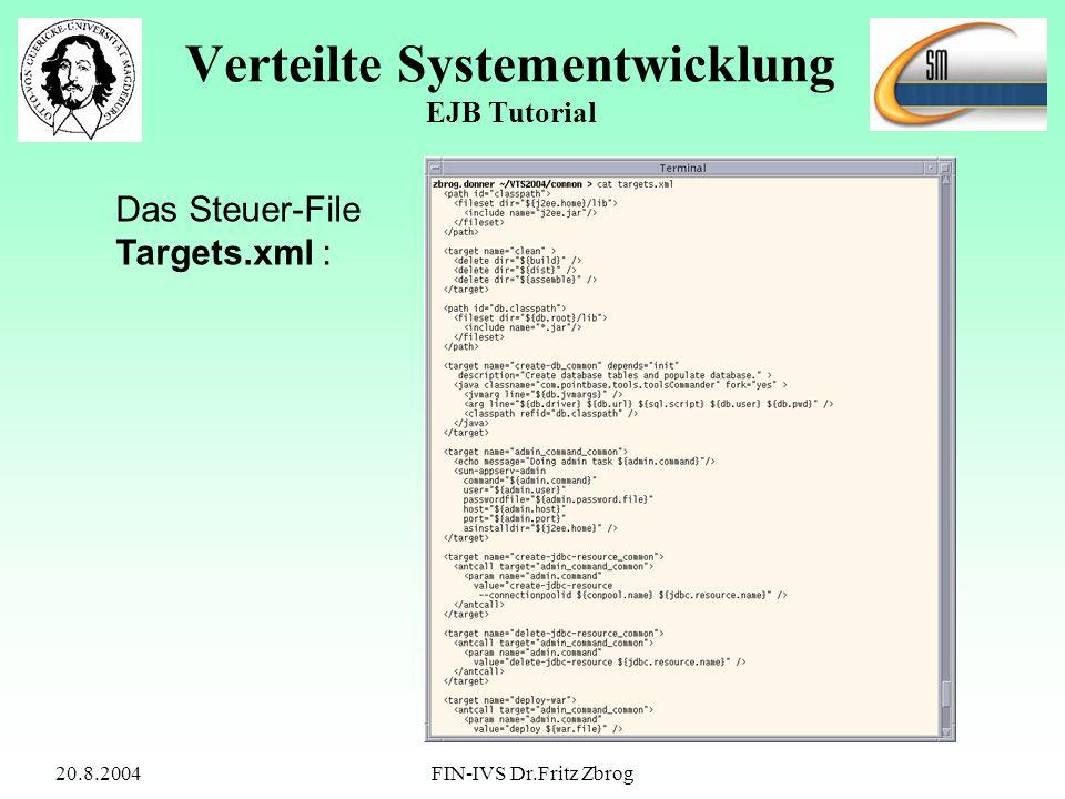 20.8.2004FIN-IVS Dr.Fritz Zbrog Verteilte Systementwicklung EJB Tutorial Das Steuer-File Targets.xml :