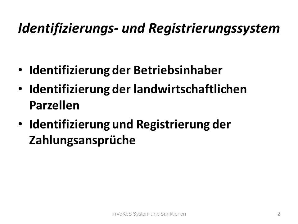 Identifizierungs- und Registrierungssystem Identifizierung der Betriebsinhaber Identifizierung der landwirtschaftlichen Parzellen Identifizierung und