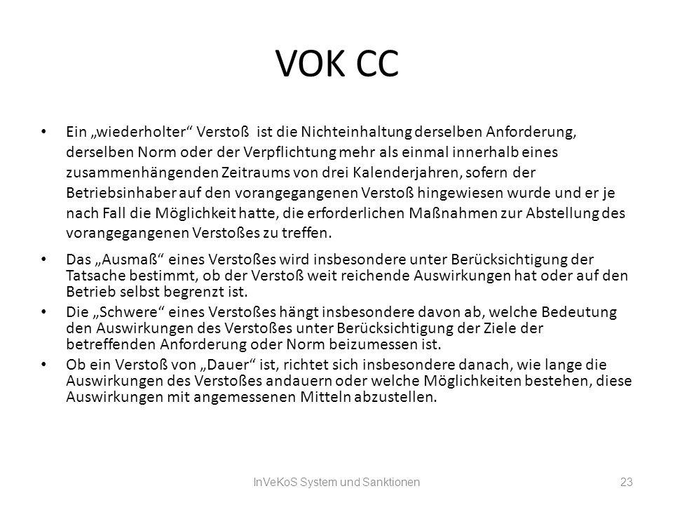 VOK CC Ein wiederholter Verstoß ist die Nichteinhaltung derselben Anforderung, derselben Norm oder der Verpflichtung mehr als einmal innerhalb eines z