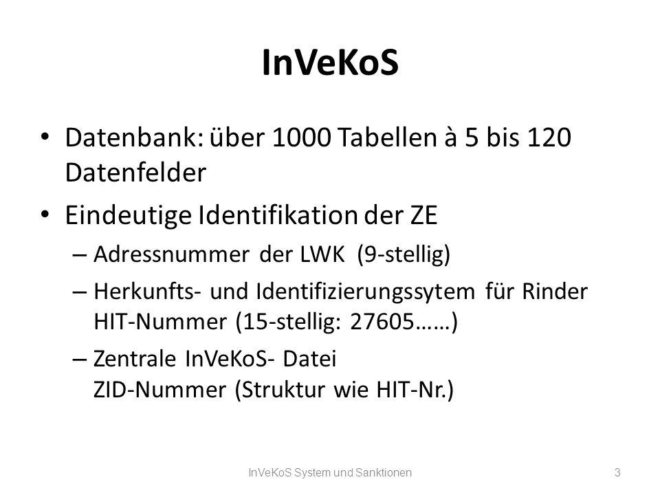 InVeKoS Datenbank: über 1000 Tabellen à 5 bis 120 Datenfelder Eindeutige Identifikation der ZE – Adressnummer der LWK (9-stellig) – Herkunfts- und Ide