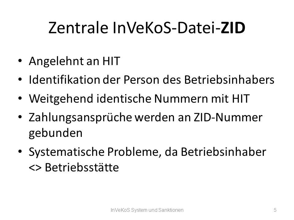Zentrale InVeKoS-Datei-ZID Angelehnt an HIT Identifikation der Person des Betriebsinhabers Weitgehend identische Nummern mit HIT Zahlungsansprüche wer
