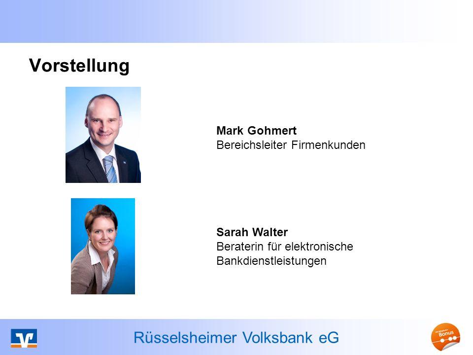 Rüsselsheimer Volksbank eG Mandatsreferenz Wird vom Zahlungsempfänger individuell vergeben Bis zu 35 Stellen (alphanumerisch) Kennzeichnet das Mandat Beispiel für die Vergabe einer Mandatsreferenz: Kundennummer zzgl.