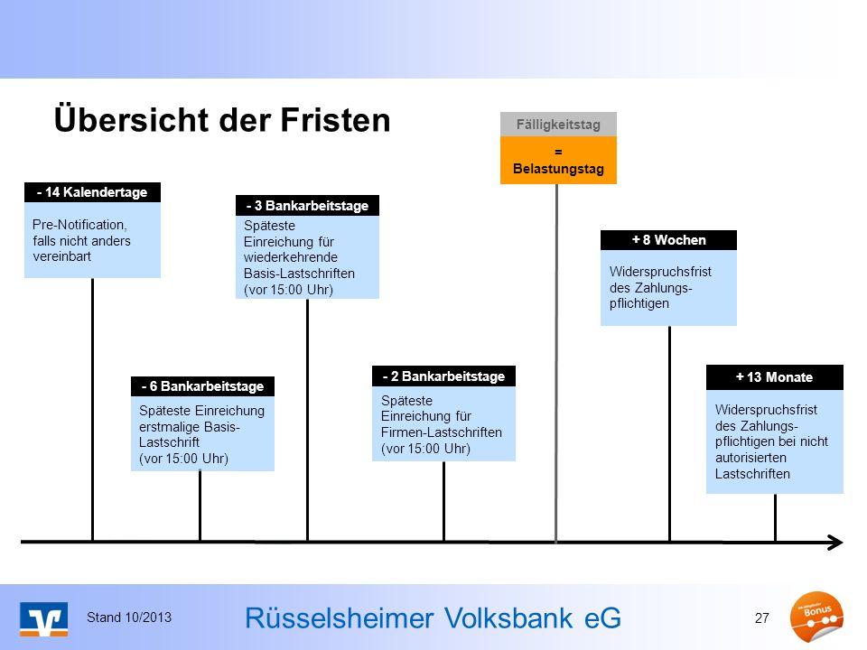 Rüsselsheimer Volksbank eG Übersicht der Fristen Stand 10/2013 27 - 14 Kalendertage Pre-Notification, falls nicht anders vereinbart - 2 Bankarbeitstag