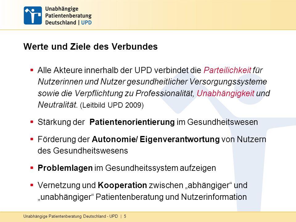 Unabhängige Patientenberatung Deutschland - UPD   5 Werte und Ziele des Verbundes Alle Akteure innerhalb der UPD verbindet die Parteilichkeit für Nutz