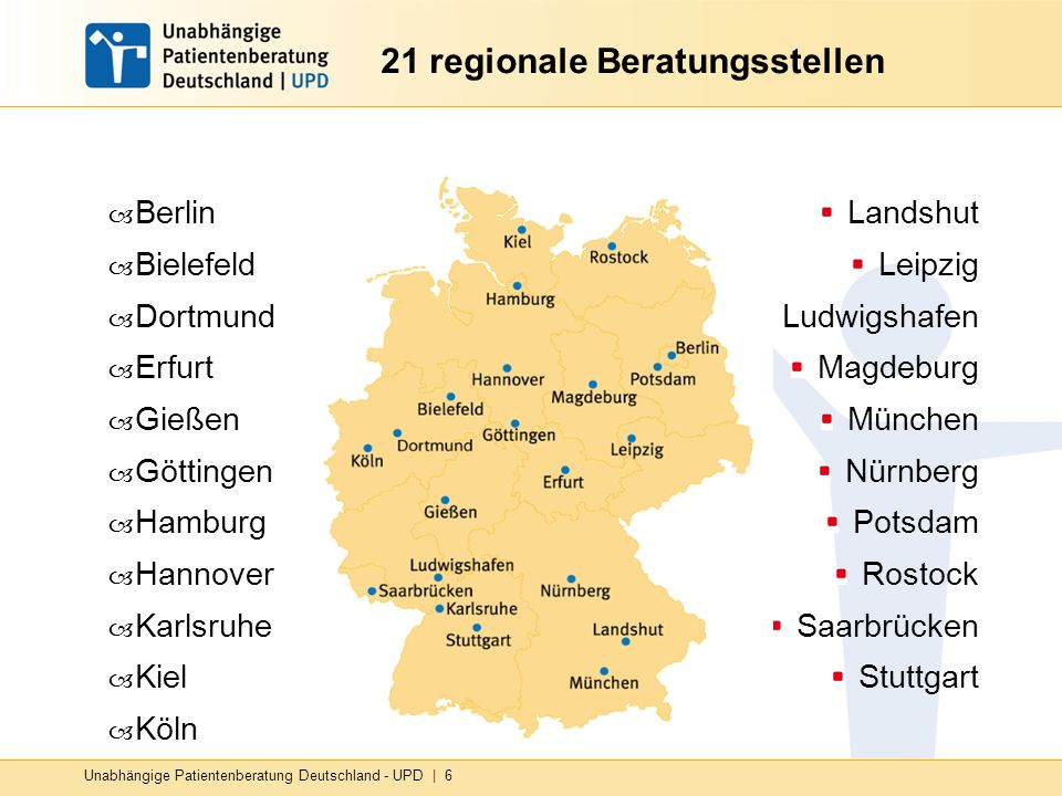 Unabhängige Patientenberatung Deutschland - UPD   6 21 regionale Beratungsstellen – Berlin – Bielefeld – Dortmund – Erfurt – Gießen – Göttingen – Hamb