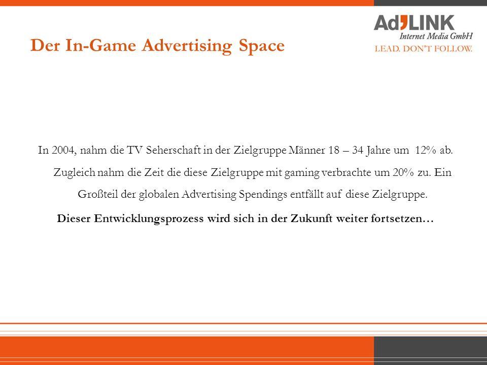Computer- und Konsolenspiele entwickeln sich immer mehr zur zentralen Plattform der Freizeitgestaltung Im Vergleich zu TV Werbung ist In-Game Advertising keine Unterbrechnung des Medienerlebnisses, es integriert sich in den Spielverlauf und wird als Teil des Games wahrgenommen.