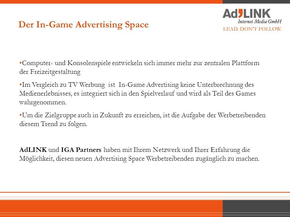 Genres Der In-Game Advertising Space Die Video Game Industrie unterteilt sich in 2 Kategorien: Konsolen Games (Sony PlayStation, Microsoft X-Box, etc.) Sales: $6.9 billion 600 Titles PC Games Sales: $2.6 billion 2,500 Titles